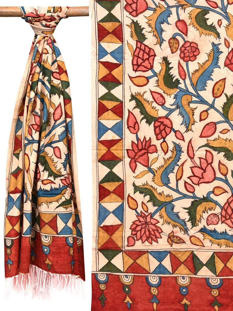 Cream Kalamkari Hand Painted Cotton Handloom Dupatta with Lotus Flowers Design ds2063