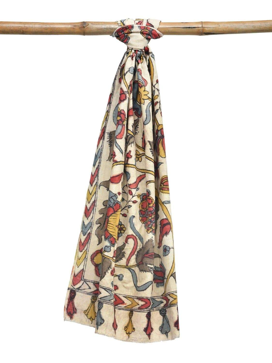 Cream Kalamkari Hand Painted Cotton Handloom Stole with Exotic Flowers and Leaves Design ds1930