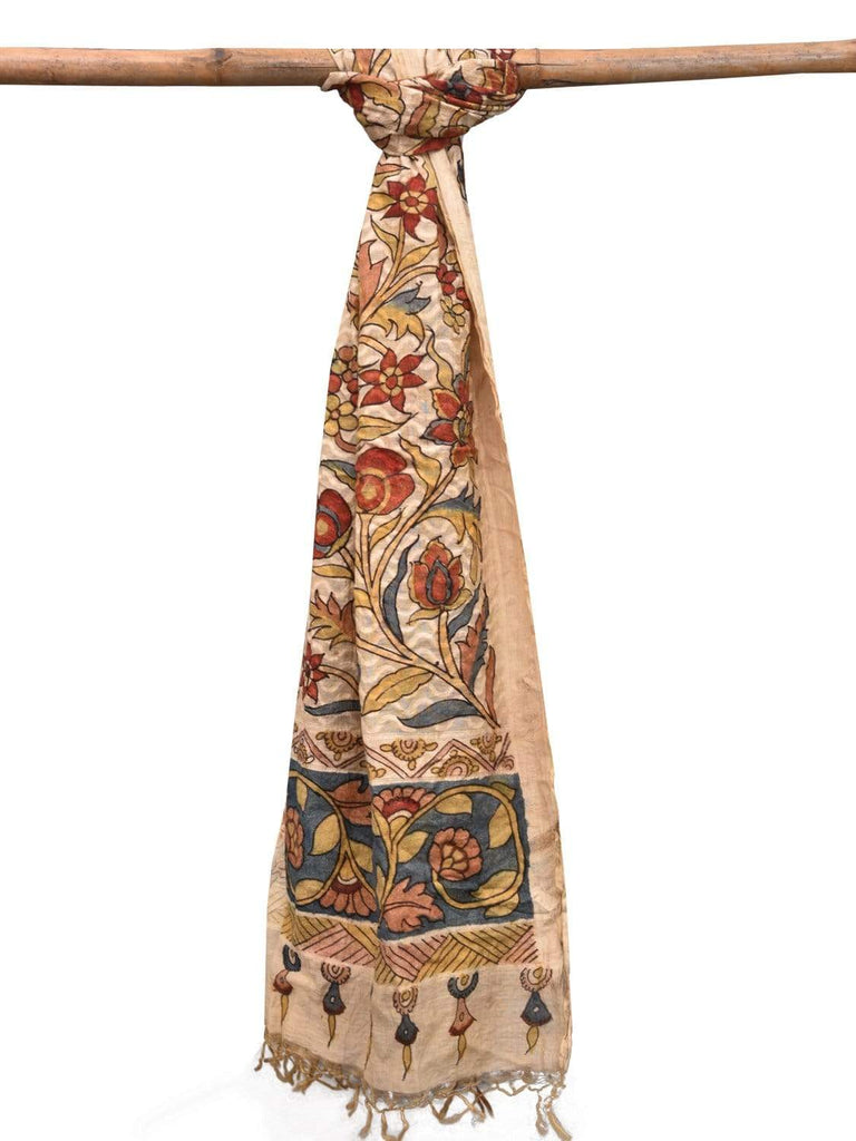 Cream Kalamkari Hand Painted Cotton Silk Handloom Dupatta with Floral Design ds2131