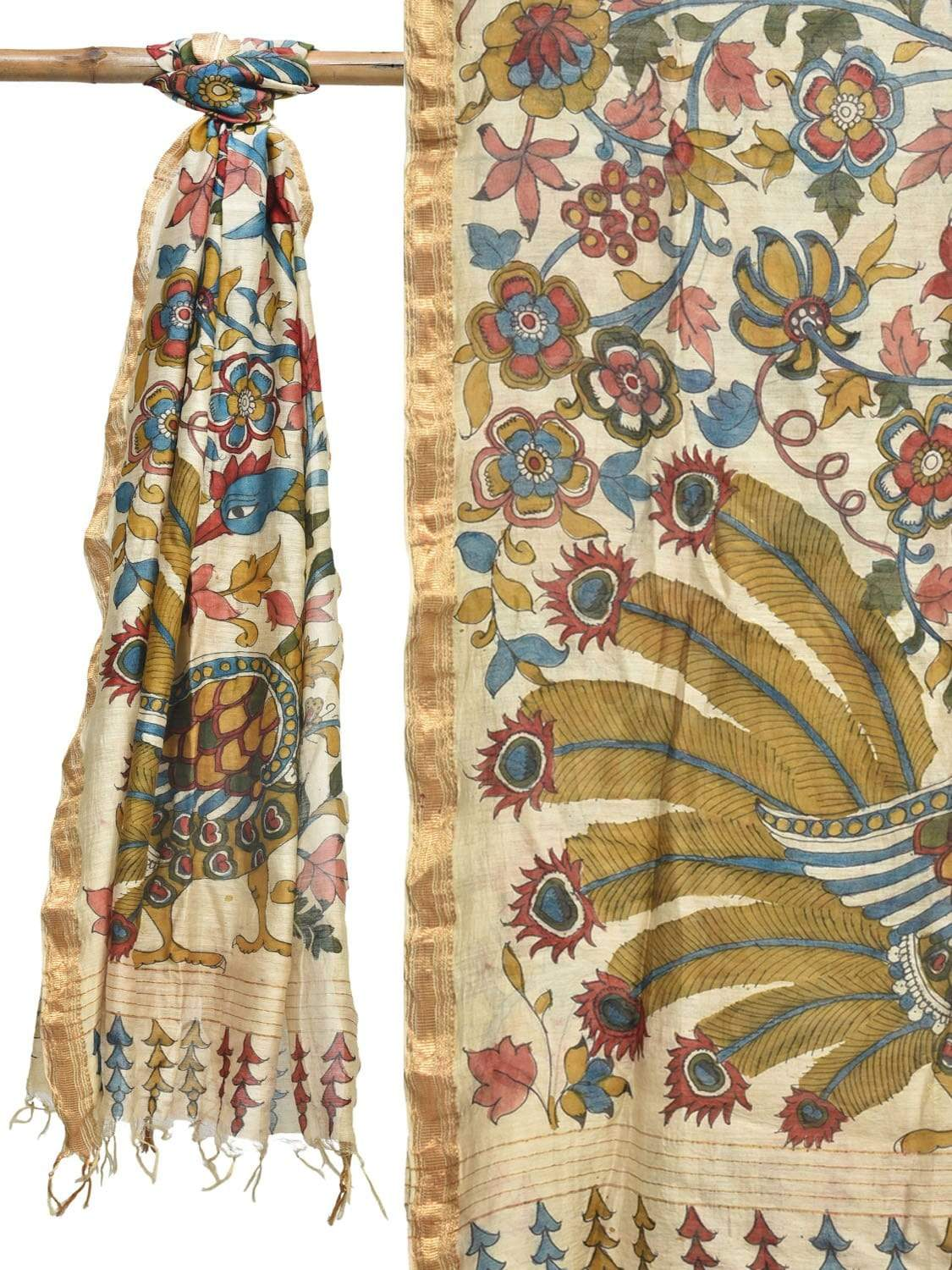 Cream Kalamkari Hand Painted Cotton Silk Handloom Dupatta with Flowers and Peacock Design ds1932