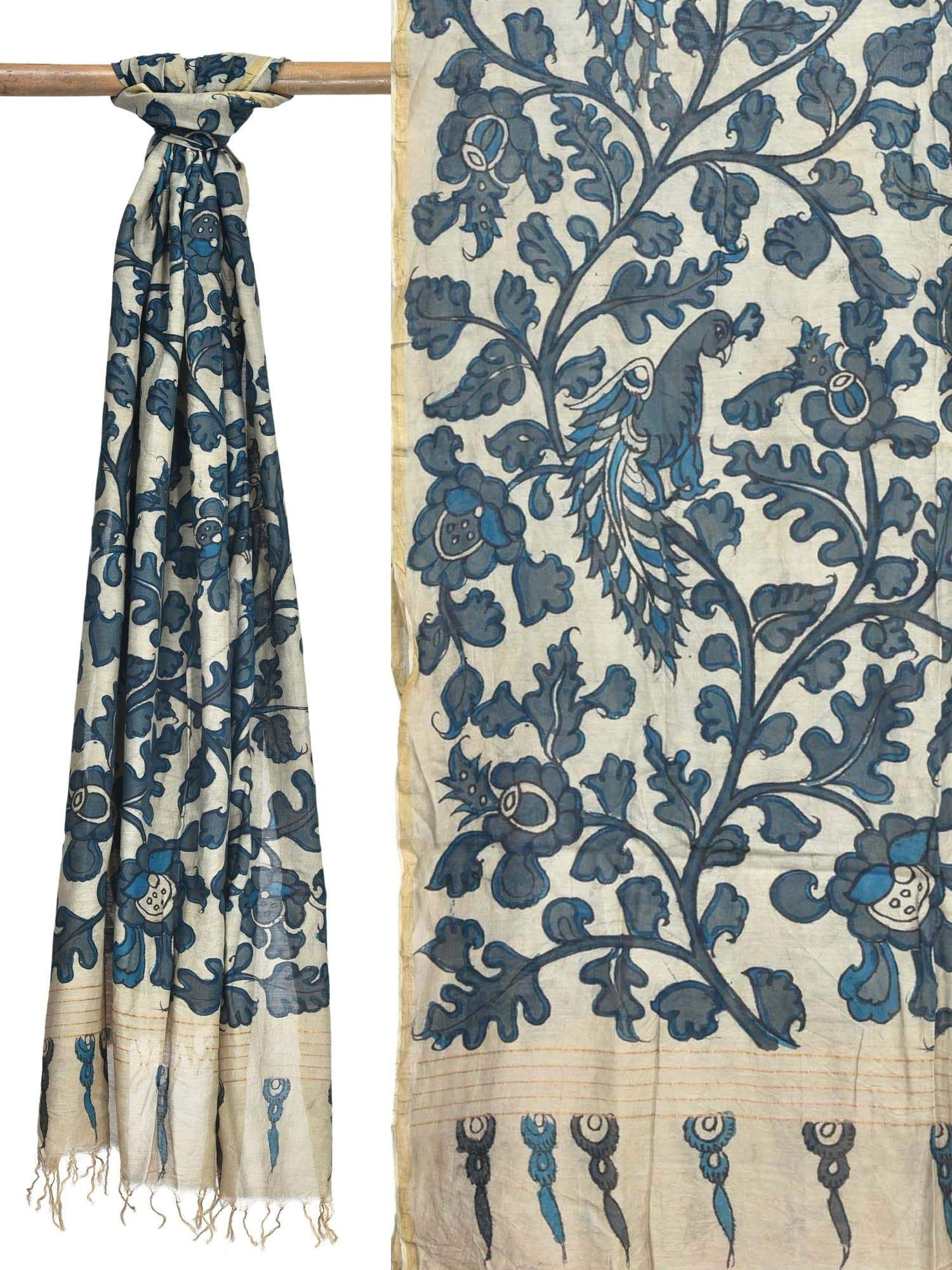 Cream Kalamkari Hand Painted Cotton Silk Handloom Dupatta with Peacocks Design ds1796