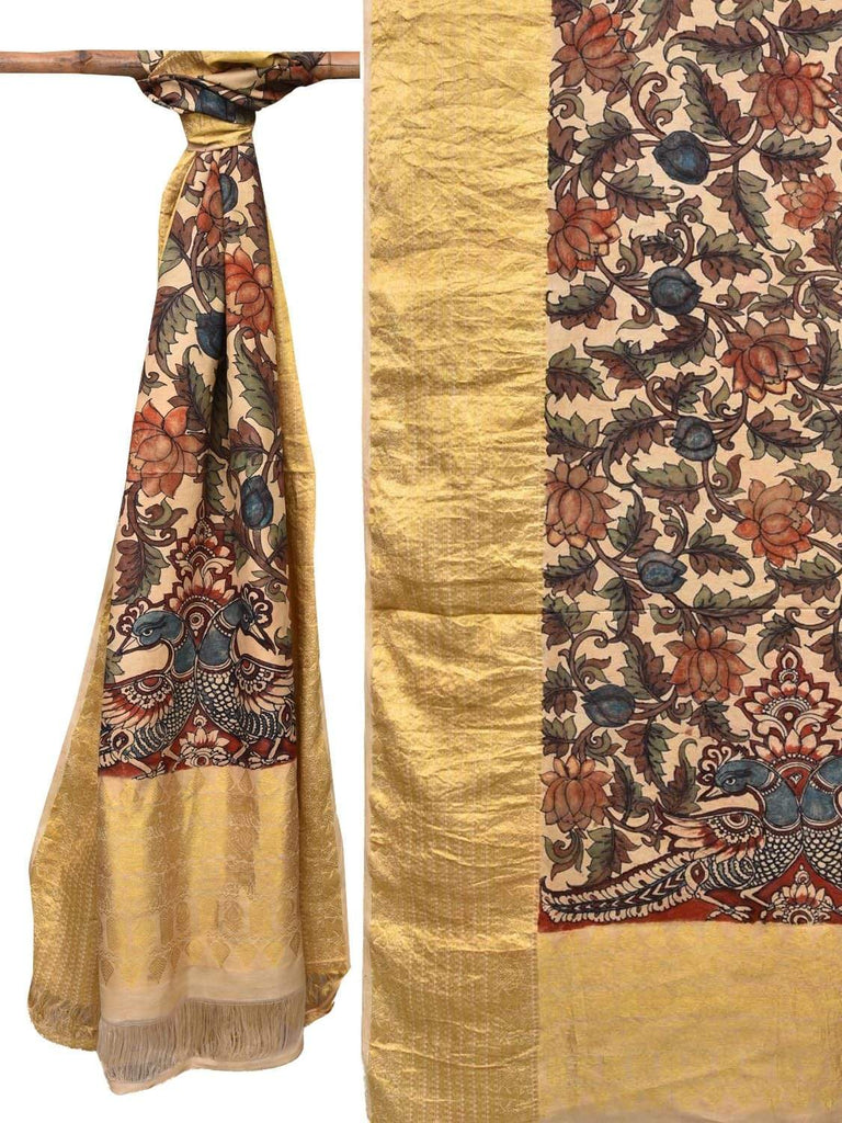 Cream Kalamkari Hand Painted Kanchipuram Silk Handloom Dupatta with Peacocks and Lotus Flowers Design ds2129