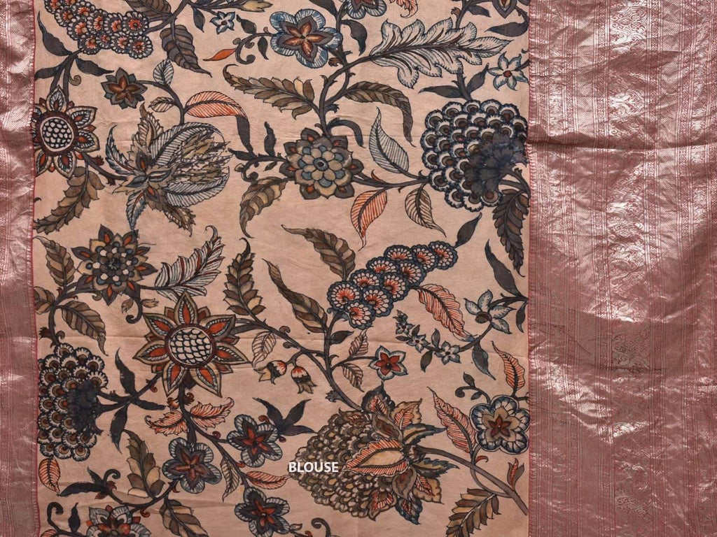 Cream Kalamkari Hand Painted Kanchipuram Silk Handloom Saree Big Flowers and Peacocks Border Design KL0353