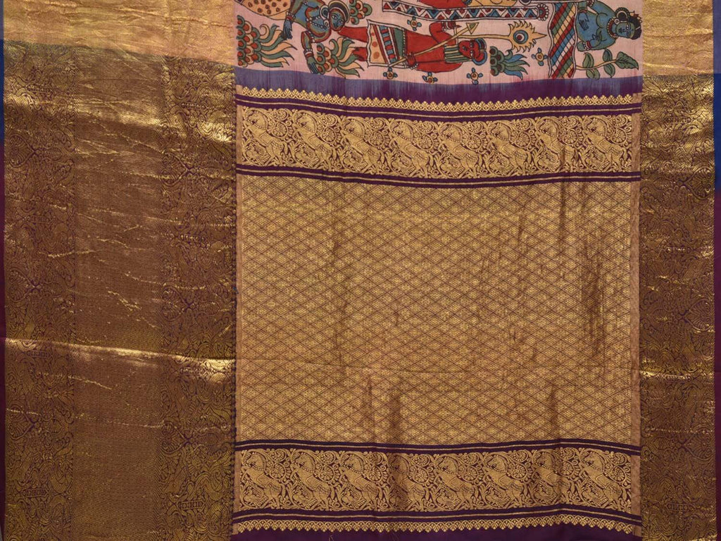 Cream Kalamkari Hand Painted Kanchipuram Silk Saree with Ajanta Painting Design KL0329