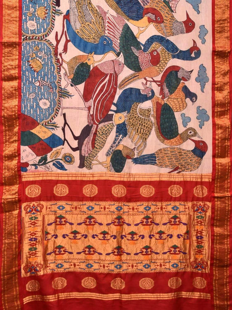 Cream Kalamkari Hand Painted Paithani Silk Handloom Saree with Birds Design KL0397
