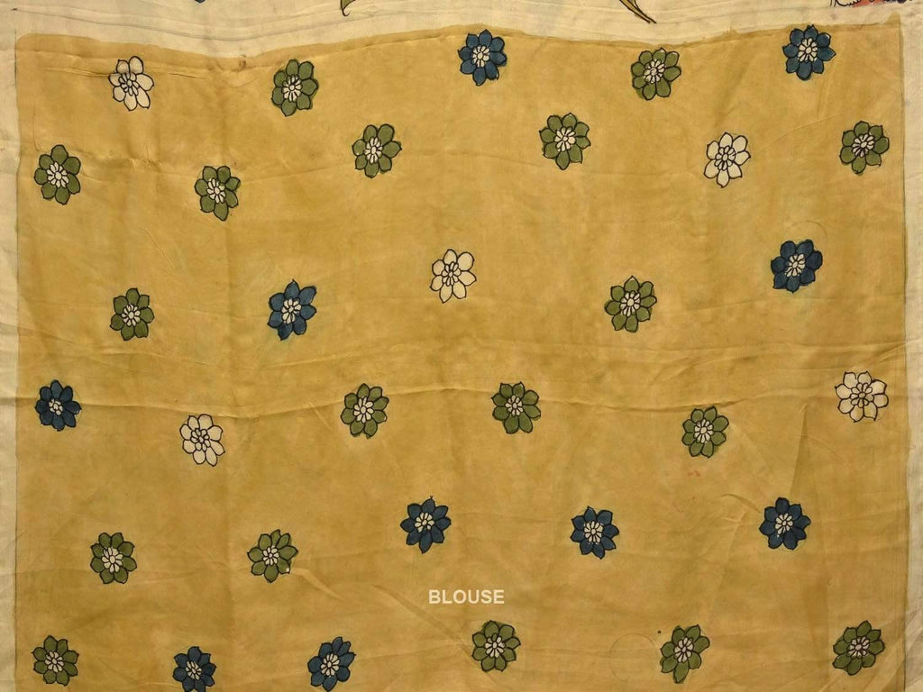 Cream Kalamkari Hand Painted Silk Handloom Saree with Flower Border and Peacocks Pallu Design KL0354