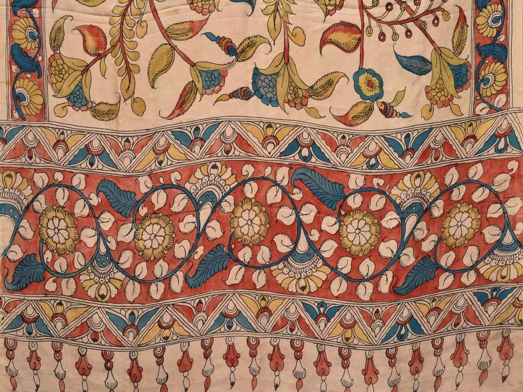 Cream Kalamkari Hand Painted Silk Handloom Saree with Flowers and Border Design KL0364