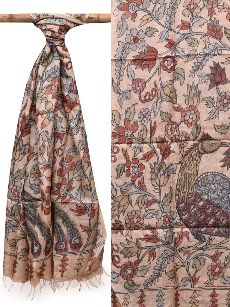 Cream Kalamkari Hand Painted Tussar Dupatta with Flowers and Peacock Design ds2110