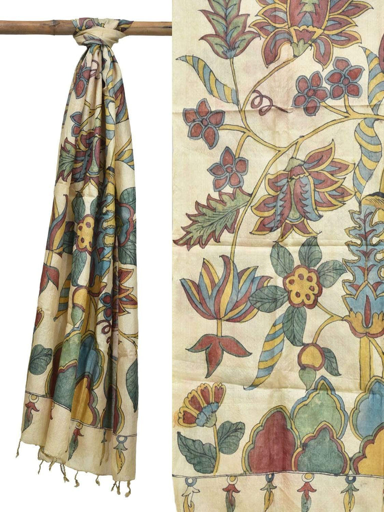 Cream Kalamkari Hand Painted Tussar Handloom Dupatta with Exotic Flowers Design ds1820
