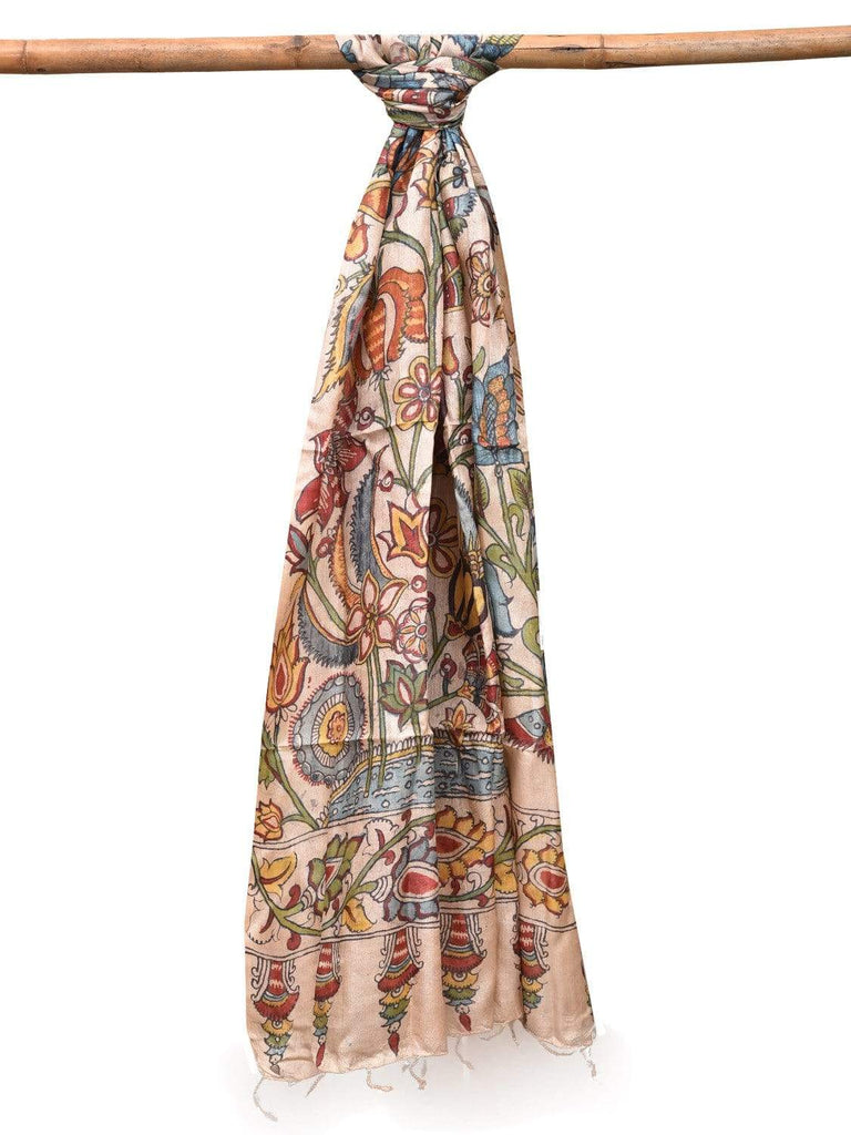 Cream Kalamkari Hand Painted Tussar Handloom Dupatta with Exotic Flowers Design ds2108