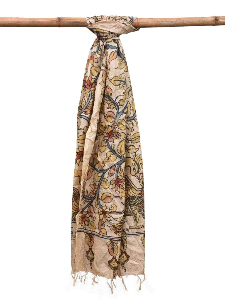 Cream Kalamkari Hand Painted Tussar Handloom Dupatta with Floral and Peacocks Design ds2135