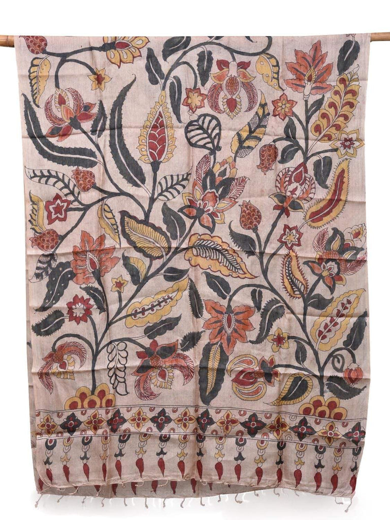 Cream Kalamkari Hand Painted Tussar Handloom Dupatta with Floral Design ds2128