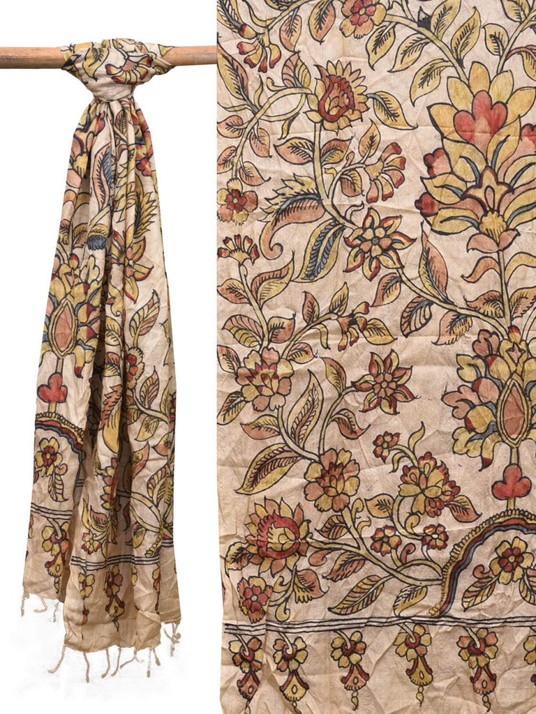 Cream Kalamkari Hand Painted Tussar Handloom Dupatta with Floral Design ds2133