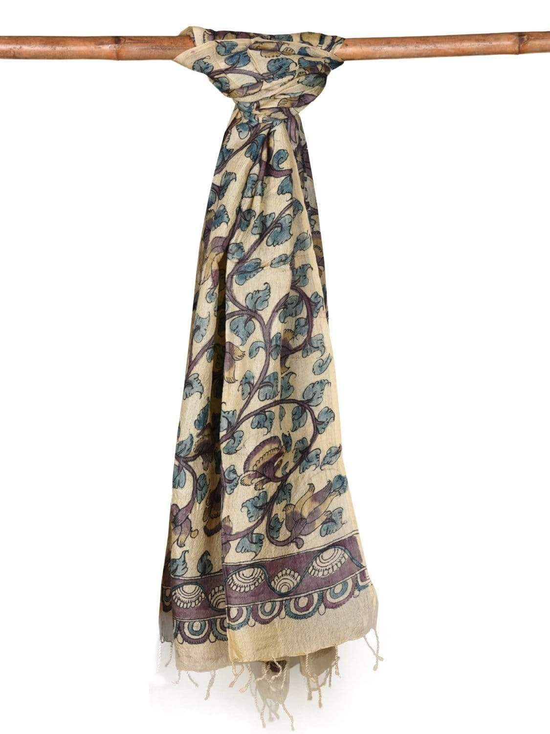 Cream Kalamkari Hand Painted Tussar Handloom Dupatta with Flowers and Birds Design ds1975