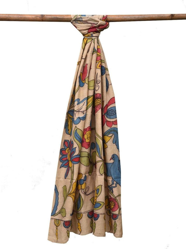 Cream Kalamkari Hand Painted Tussar Handloom Dupatta with Flowers Design ds2115