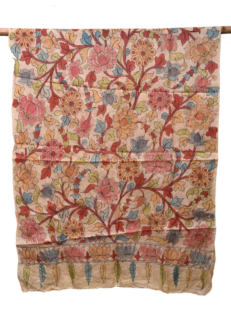 Cream Kalamkari Hand Painted Tussar Handloom Dupatta with Flowers Design ds2141