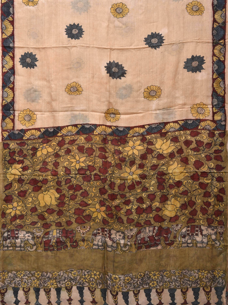 Cream Kalamkari Hand Painted Tussar Handloom Saree with Flowers Buta Design KL0289