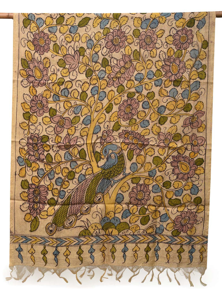 Cream Kalamkari Hand Painted Tussar Handloom Saree with Peacock and Tree Design ds2117