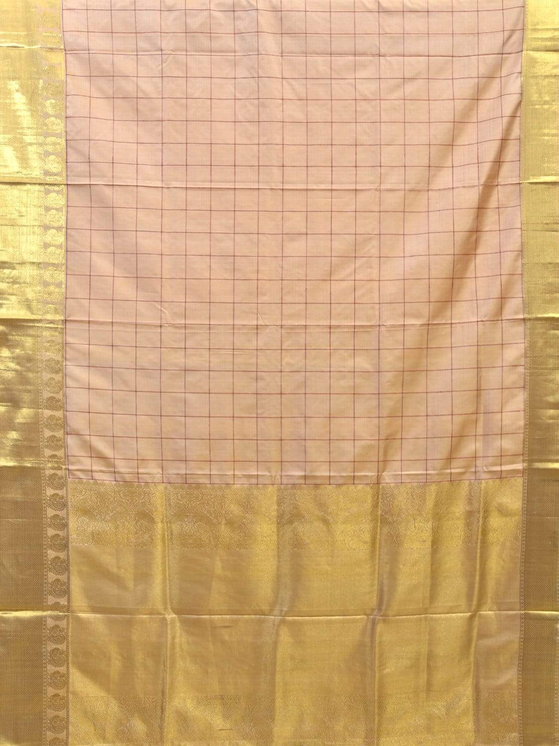 Cream Kanchipuram Silk Handloom Saree with Checks and Birder Design No Blouse k0499
