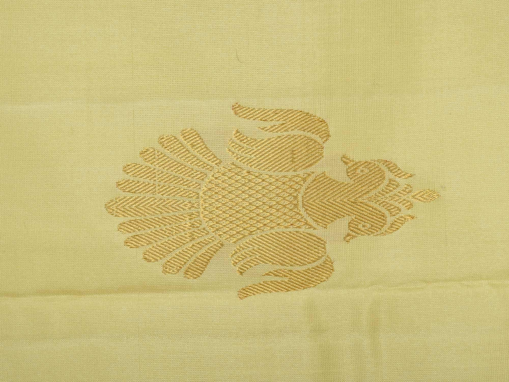 Cream Kanchipuram Silk Handloom Saree with Corner and Buta Gandaberunda Design K0459
