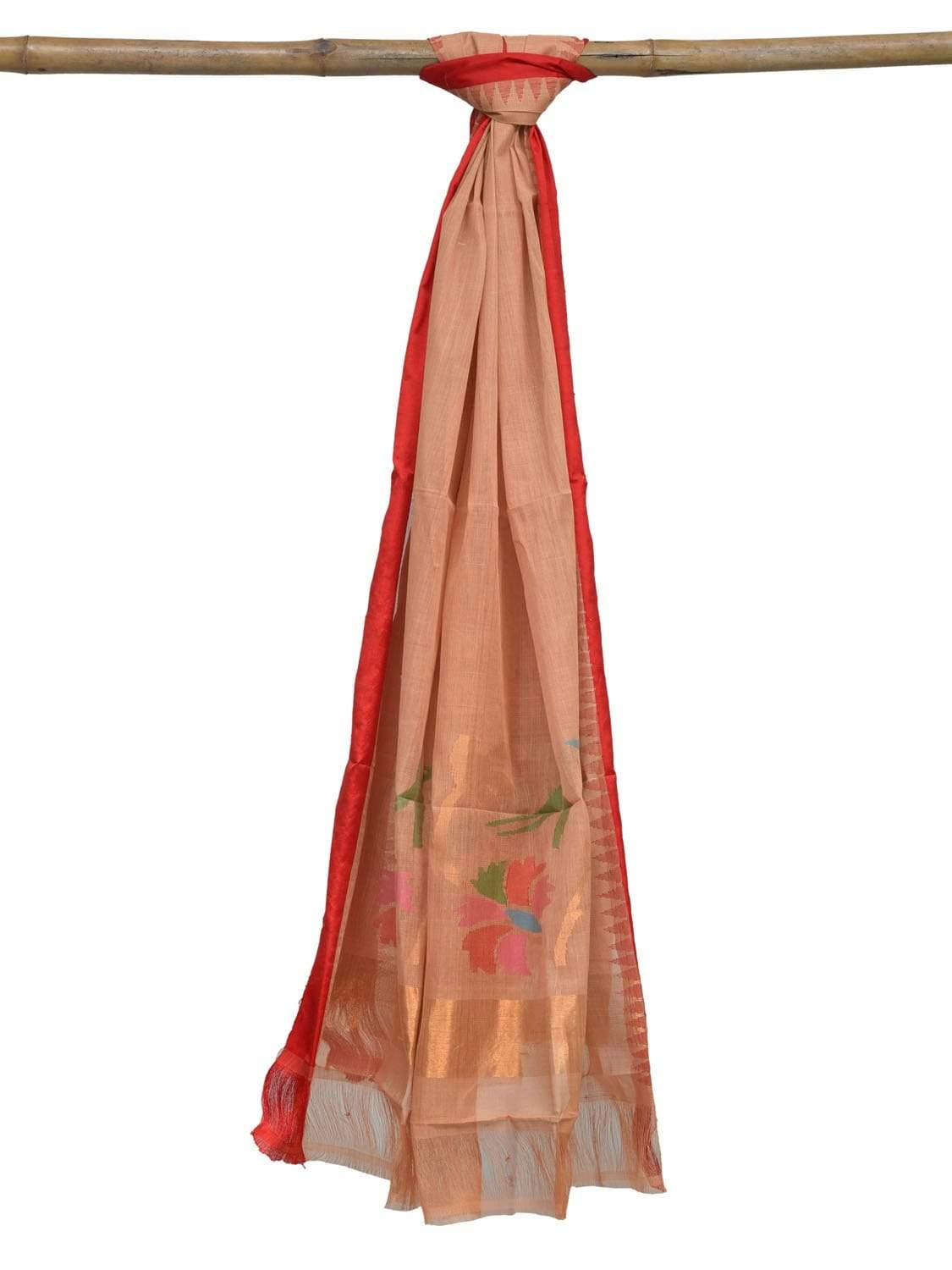 Cream Khadi Cotton Handloom Dupatta with Silk Border and Flower Design ds1882