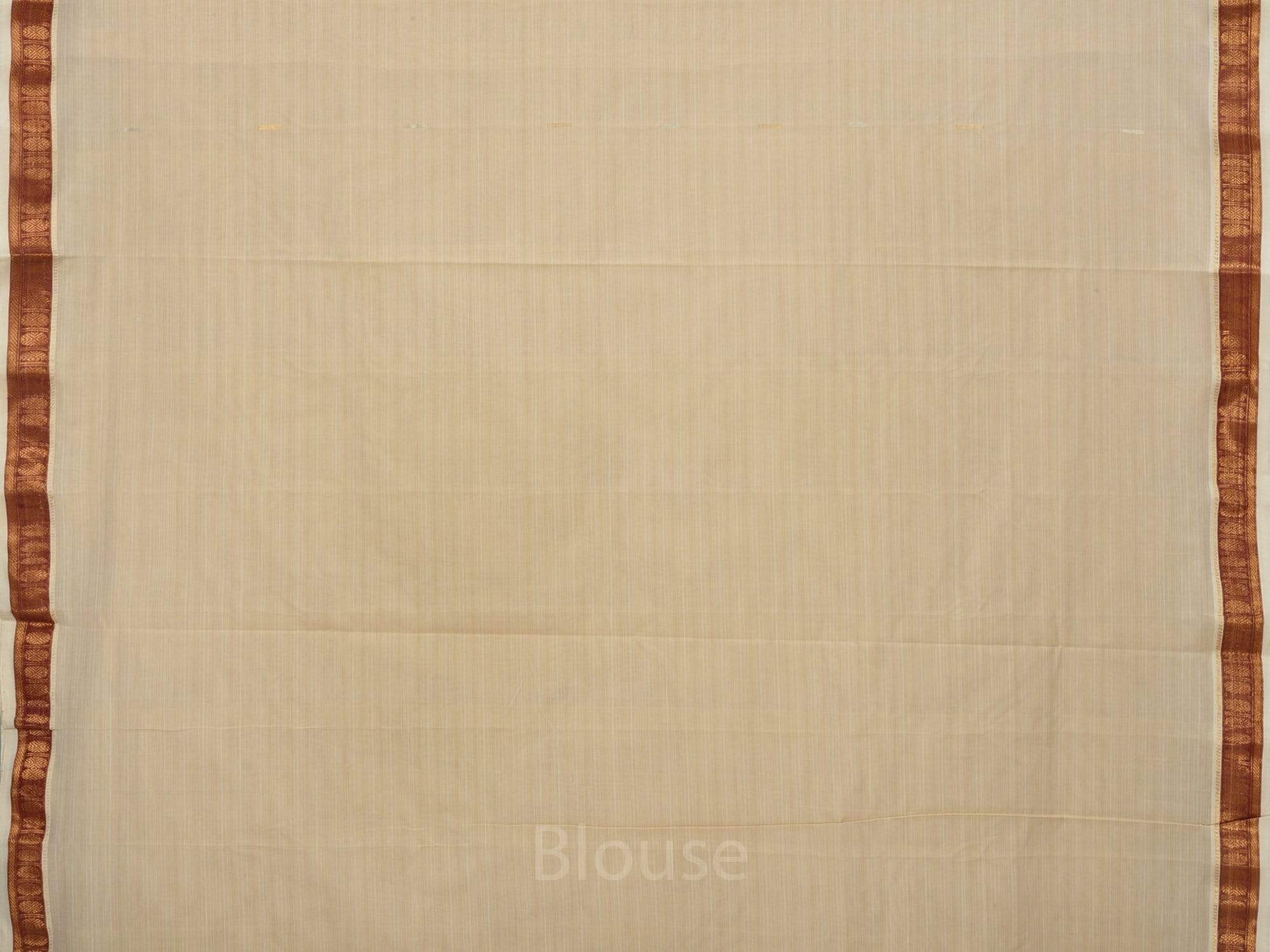 Cream Khadi Cotton Handloom Saree with Doby Border and Zari Strips Pallu Design No Blouse kh0428
