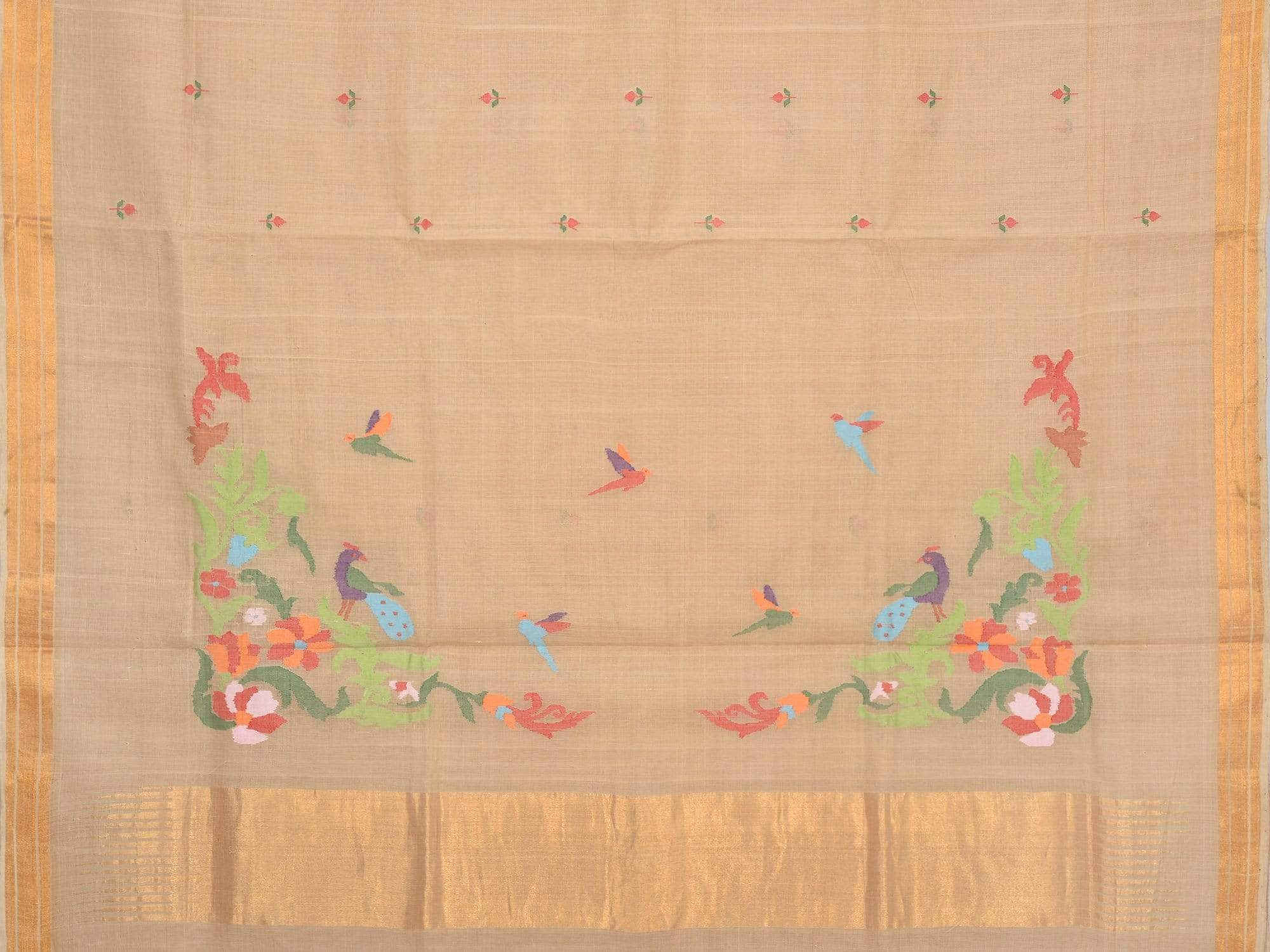 Cream Khadi Cotton Handloom Saree with Jamdani Buta and Birds Pallu Design kh0409