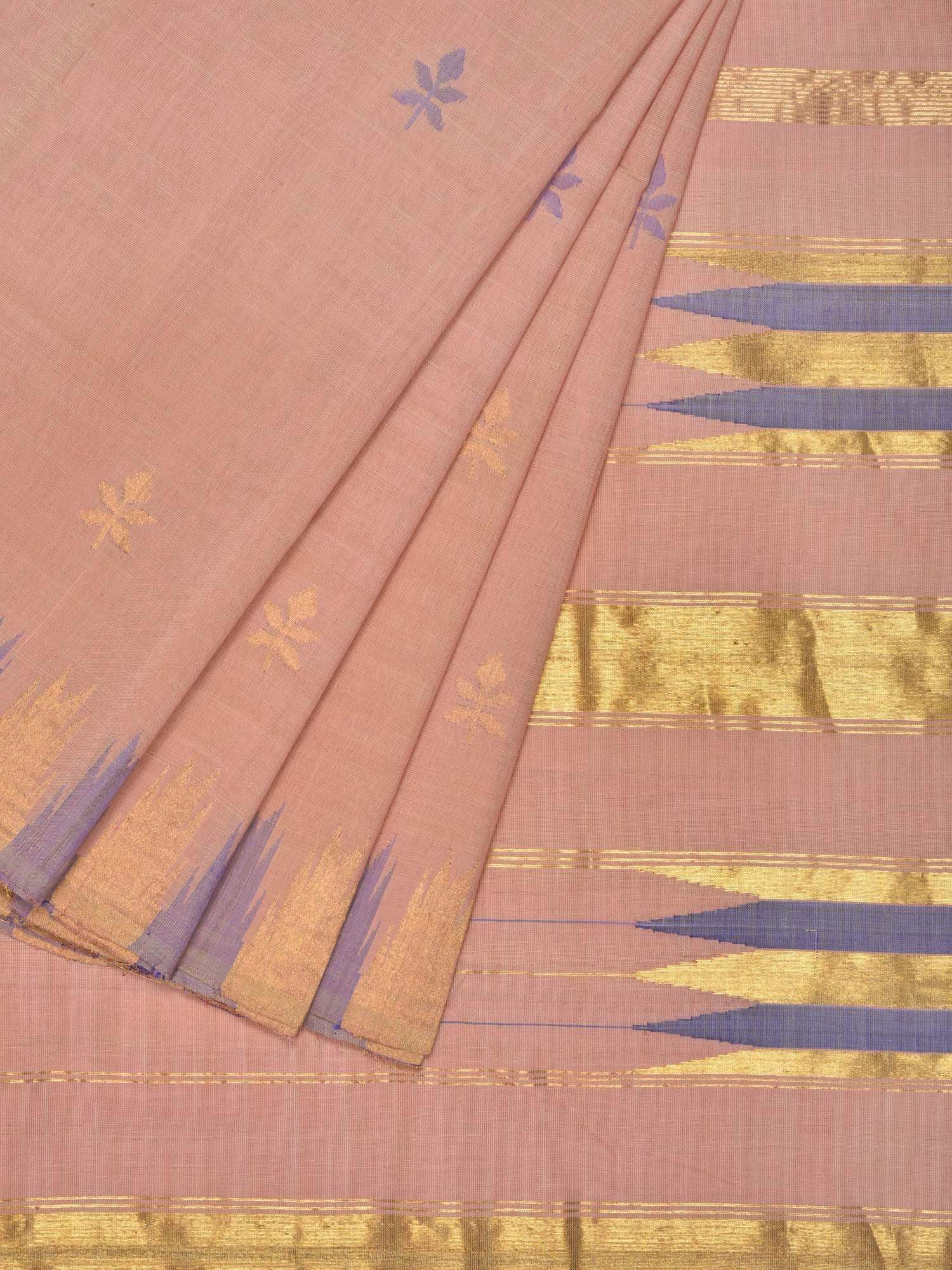 Cream Khadi Cotton Handloom Saree with Jamdani Buta and Temple Border Design kh0425