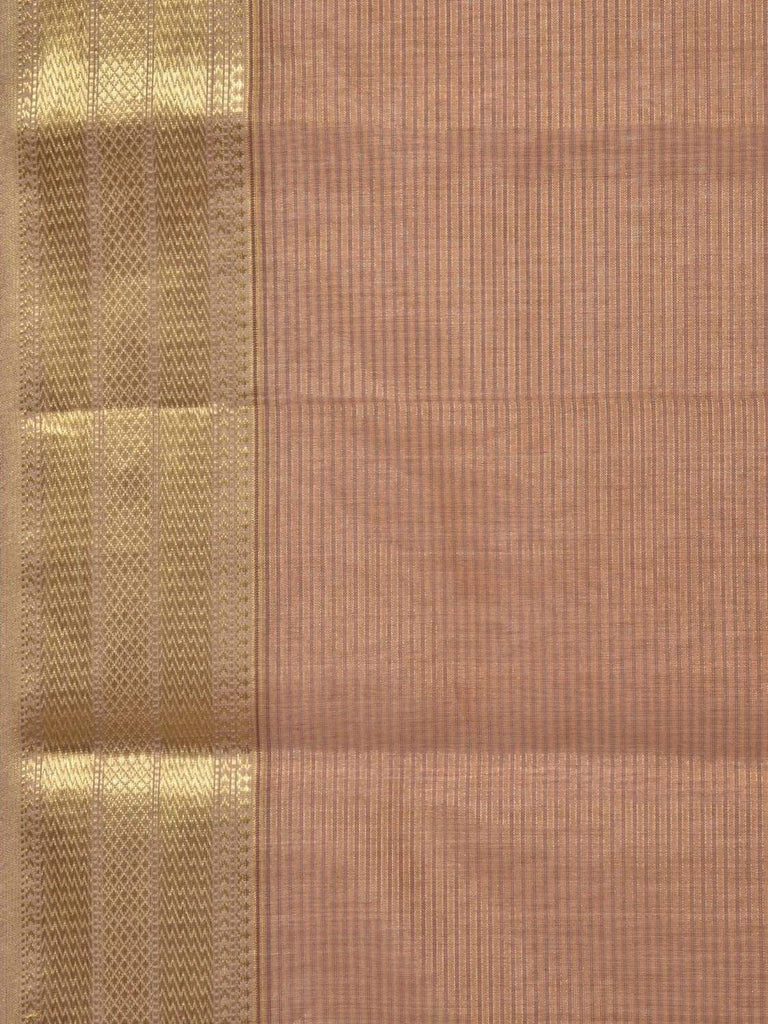 Cream Maheshwari Cotton Silk Handloom Saree with Strips Design m0084