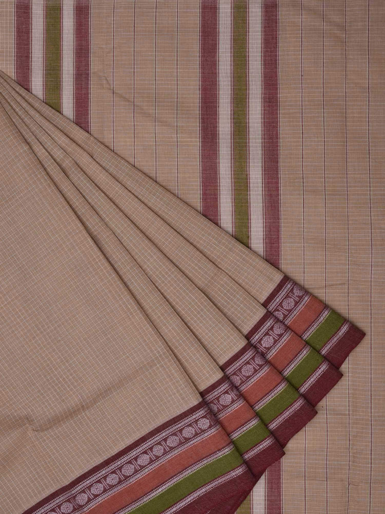 Cream Narayanpet Cotton Handloom Saree with Checks Design No Blouse Np0131