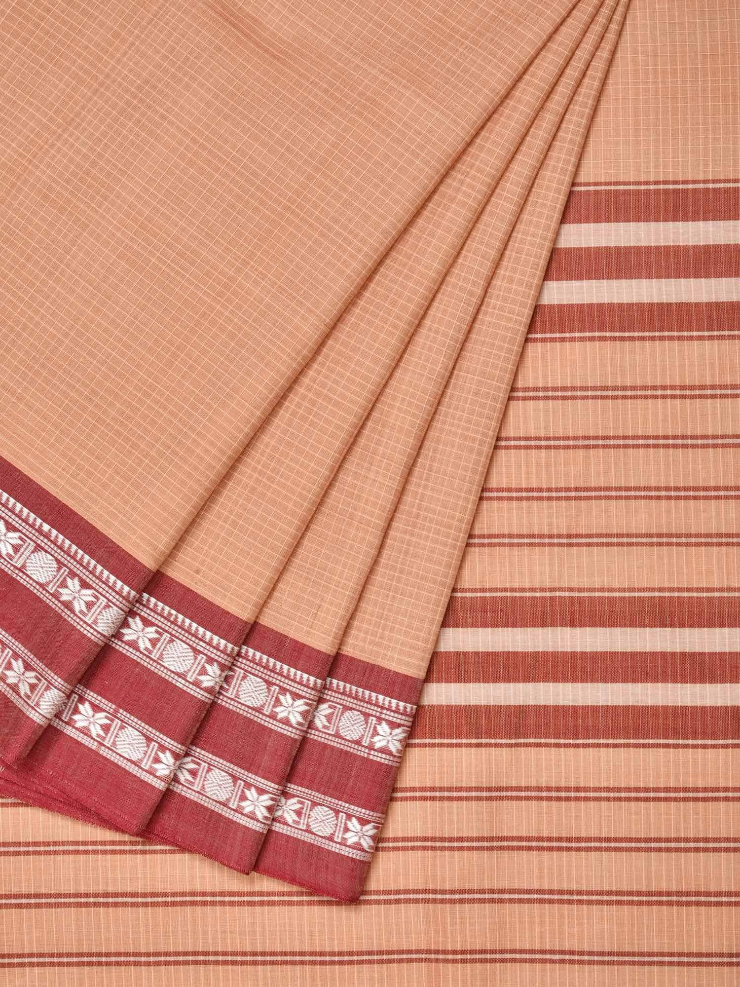 Cream Narayanpet Cotton Handloom Saree with Checks Design No Blouse np0223