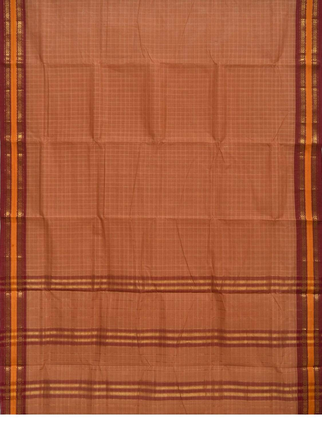 Cream Narayanpet Cotton Handloom Saree with Checks Design No Blouse np0262