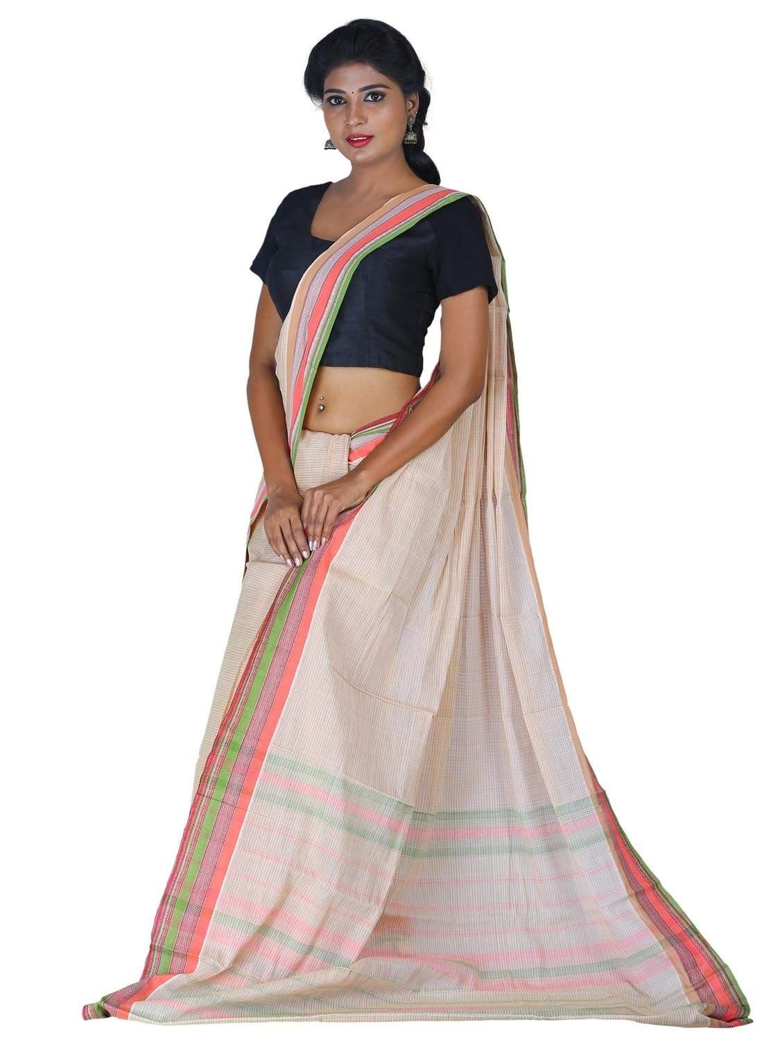 Cream Narayanpet Cotton Handloom Saree with Checks Design np0265