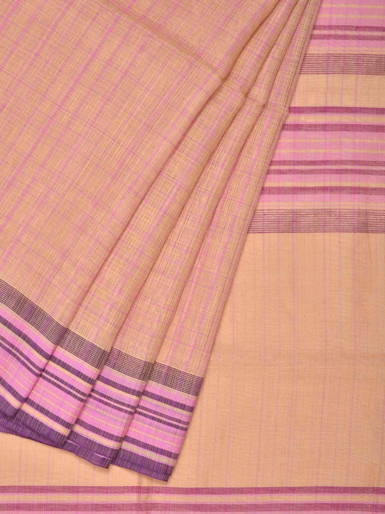 Cream Organic Cotton Handloom Saree with Checks and Strips Border Design o0245