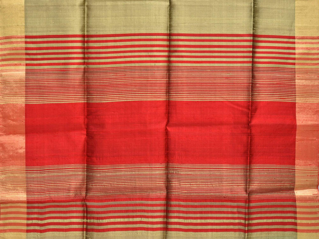 Cream Raw Silk Handloom Plain Saree with Strips Pallu Design o0254