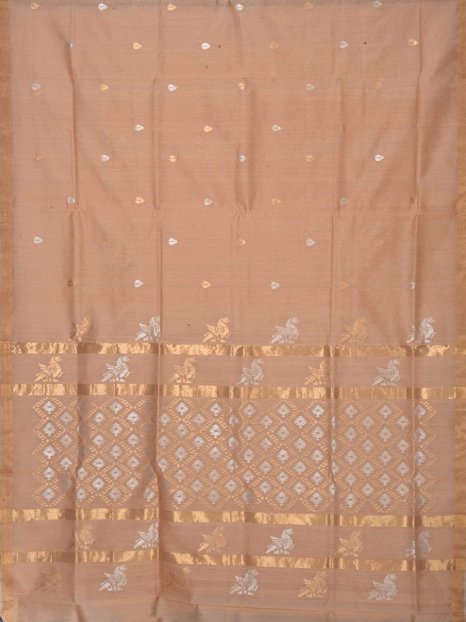 Cream Uppada Cotton Handloom Saree with Parrot and Jamdani Pallu Design u1456