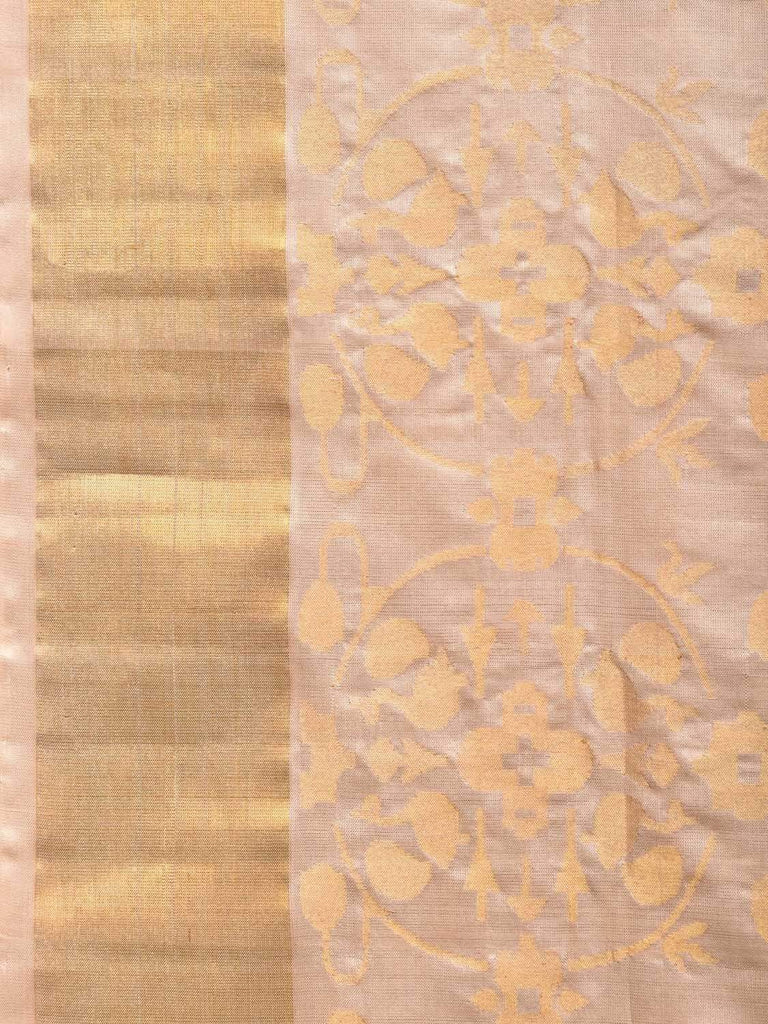 Cream Uppada Silk Handloom Saree with All Over Bangdimore Design u1723