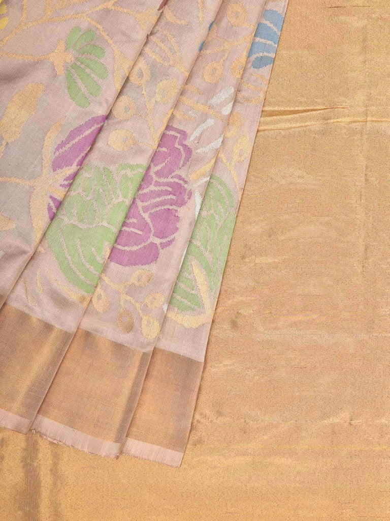 Cream Uppada Silk Handloom Saree with All Over Flowers Design u1655