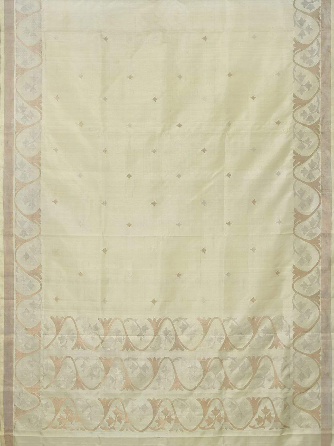 Cream Uppada Silk Handloom Saree with Border Design U1548