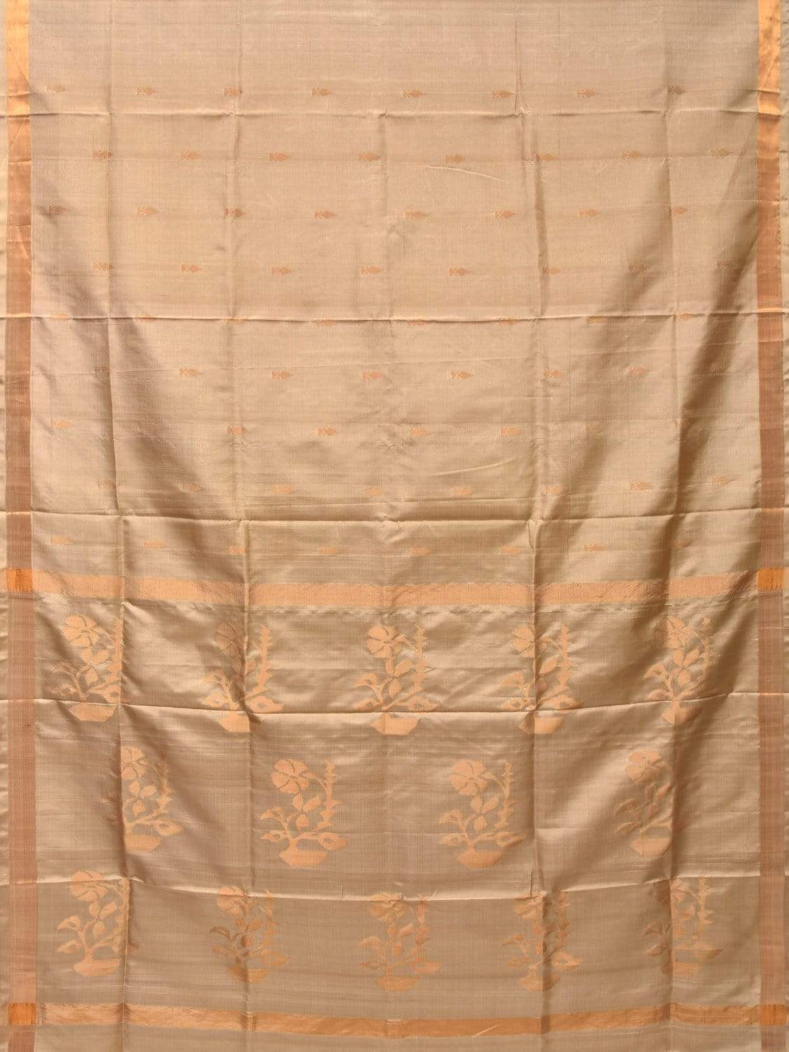 Cream Uppada Silk Handloom Saree with Flower Pot Pallu Design u1646