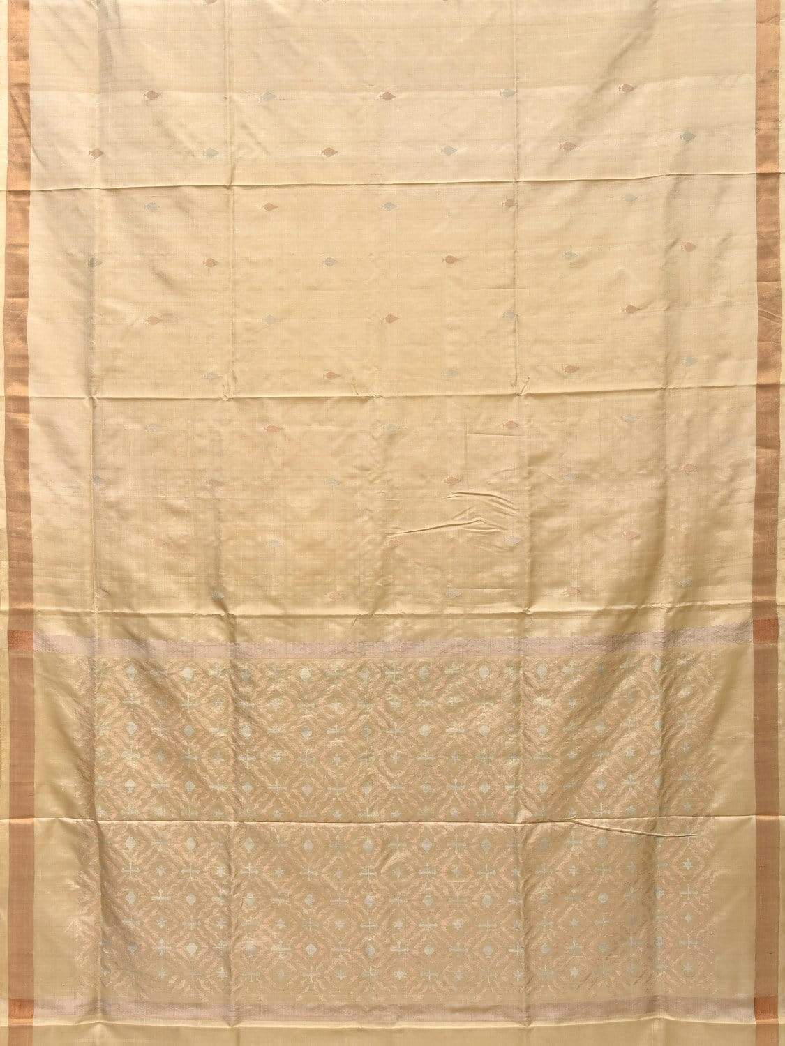 Cream Uppada Silk Handloom Saree with Jamdani Pallu Design u1644