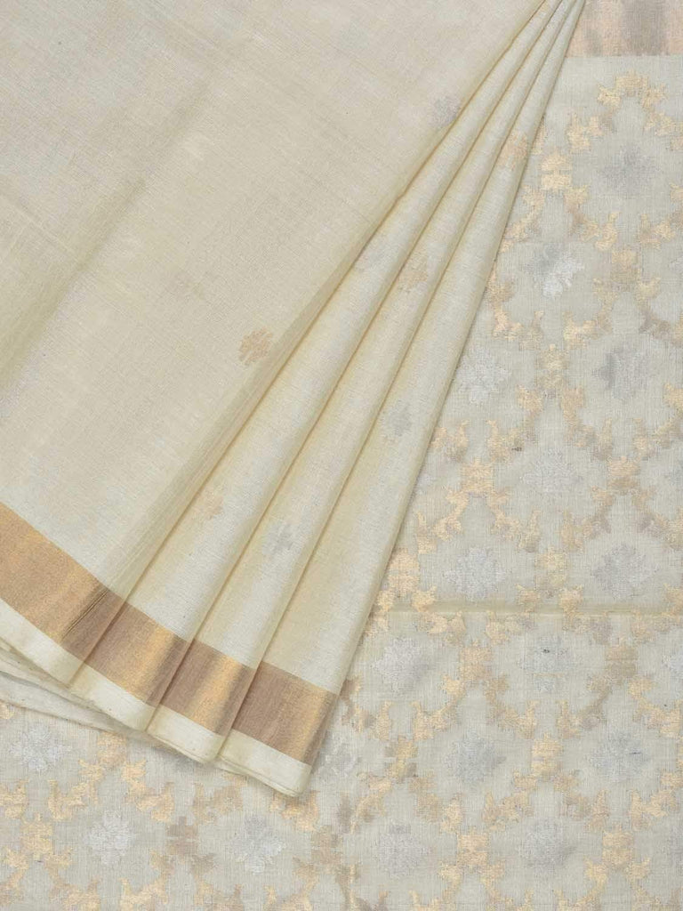 Cream Uppada Tussar Cotton Handloom Saree with Jamdani Pallu Design U1546