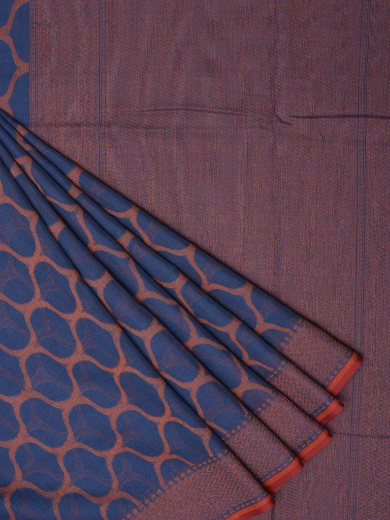 Dark Blue Cotton Cut Work Handloom Saree with Grill Design o0195