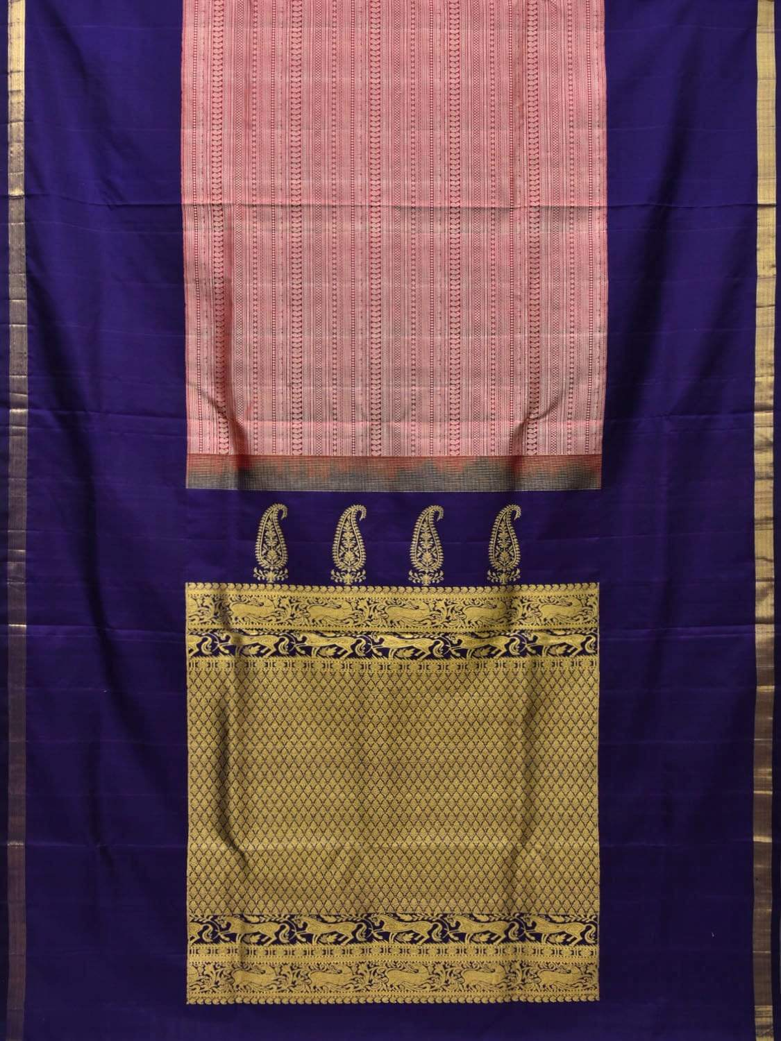 Dark Blue Kanchipuram Silk Handloom Saree with Middle Brocade Design k0500