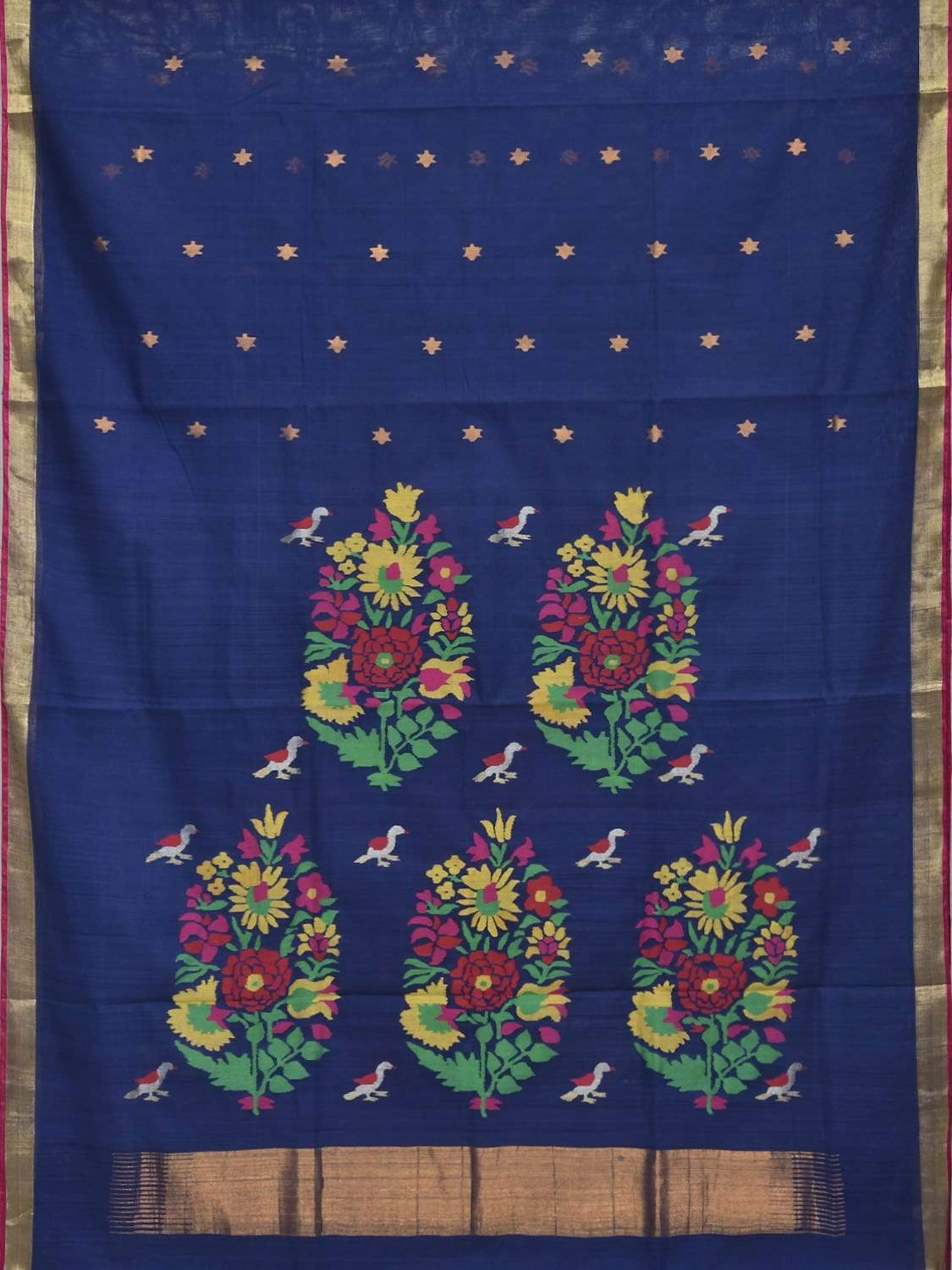 Dark Blue Khadi Cotton Handloom Saree with Birds and Flowers Pallu Design kh0445