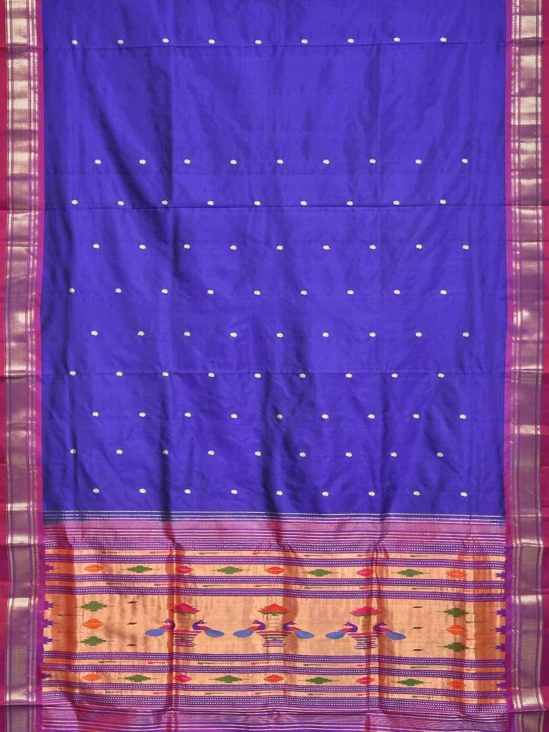 Dark Blue Paithani Silk Handloom Saree with Single Pallu Design p0331