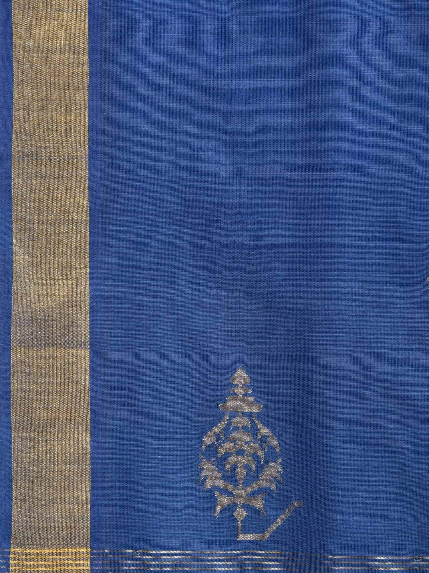 Dark Blue Uppada Cotton Handloom Saree with Assorted Buta Pallu Design U1539