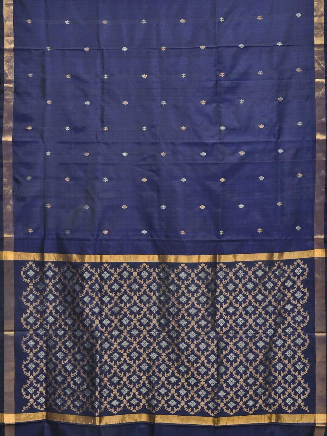 Dark Blue Uppada Silk Handloom Saree with Jamdani Pallu Design u1581