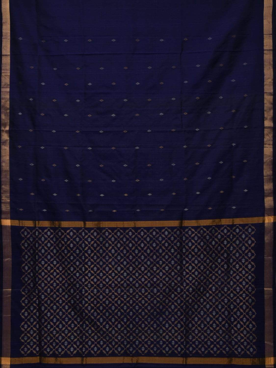 Dark Blue Uppada Silk Handloom Saree with Jamdani Pallu Design u1612