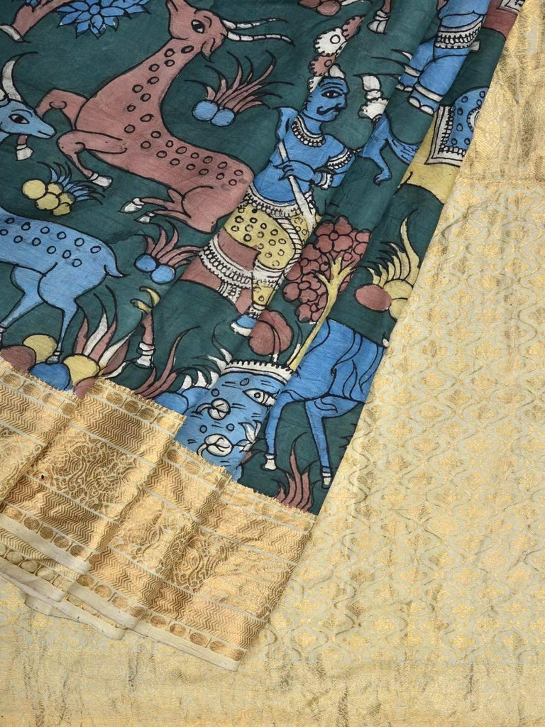Dark Green Kalamkari Hand Painted Kanchipuram Silk Handloom Saree Animals Design KL0360